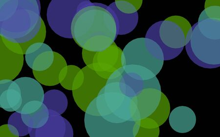Multicolored translucent circles on a dark background. Green tones. 3D illustration