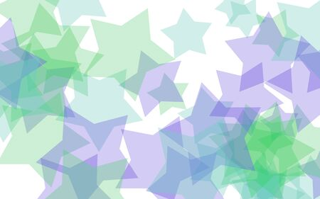 Multicolored translucent stars on a white background. Green tones. 3D illustration Stok Fotoğraf