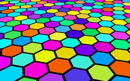 Honeycomb multi-colored. Perspective view on polygon look like honeycomb. Isometric geometry. 3D illustration Stok Fotoğraf