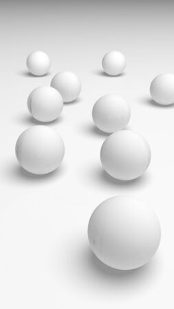 White abstract background. Set of white balls isolated on white backdrop. 3D illustration Stok Fotoğraf