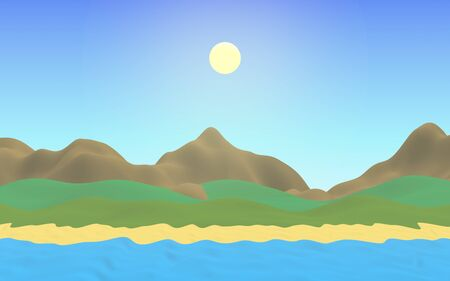 Sun Sea Beach. Noon. Ocean shore line with waves on a beach. Island beach paradise with waves. Vacation, summer, relaxation. Seascape, seashore. Minimalist landscape, primitivism. 3D illustration Stok Fotoğraf