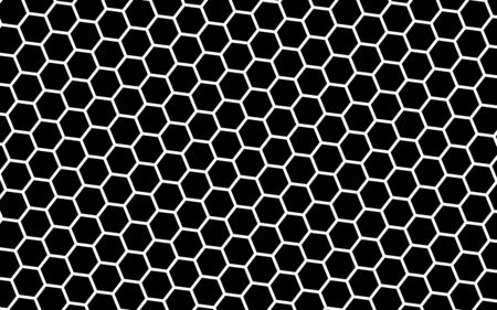 White honeycomb on a black background. Isometric geometry. 3D illustration