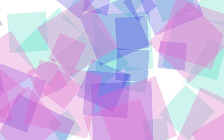 Multicolored translucent squares on white background. Pink tones. 3D illustration