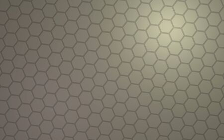 Honeycomb with color lighting, on a gray background. Perspective view on polygon look like honeycomb. Isometric geometry. 3D illustration Stok Fotoğraf