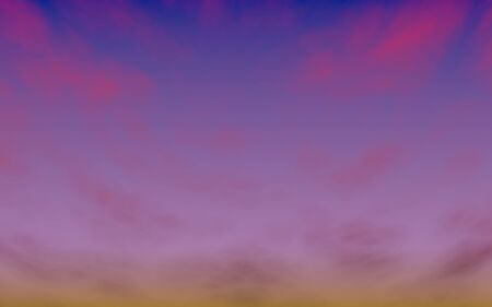 Cumulus pink clouds in the purple sky at sunset. Abstract group of clouds in the evening. 3D illustration Фото со стока