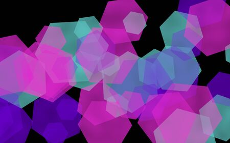 Multicolored translucent hexagons on dark background. Pink tones. 3D illustration