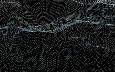 Abstract landscape background. Cyberspace gray grid. hi tech network. 3D illustration