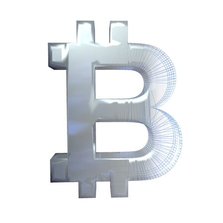 Bitcoin sign, platinum or silver turns into a blue grid on a white background. 3D illustration Stok Fotoğraf
