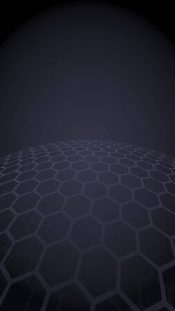 Multilayer sphere of honeycombs, gray on a dark background, social network, computer network, technology, global network. 3D illustration Reklamní fotografie