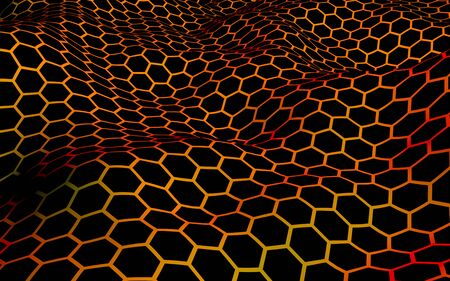 Honeycomb wave effect on a red yellow background. Perspective view on polygon look like honeycomb. Isometric geometry. 3D illustration Reklamní fotografie