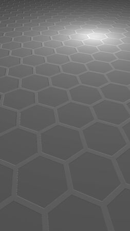 Honeycomb on a gray background. Perspective view on polygon look like honeycomb. Extruded, bump cell. Isometric geometry. Vertical image orientation. 3D illustration