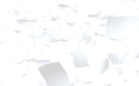 Flying sheets of paper isolated on white background. Abstract money is flying in the air. 3D illustration 스톡 콘텐츠