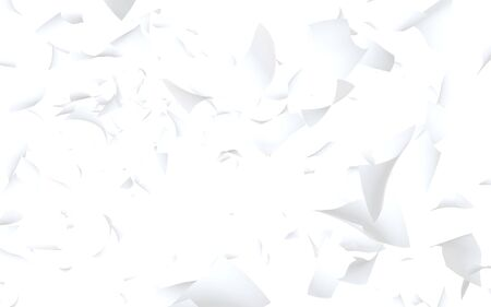 Flying sheets of paper isolated on white background. Abstract money is flying in the air. 3D illustration Stock Photo