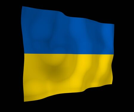 The flag of Ukraine on a dark background. National flag and state ensign. Blue and yellow bicolour. 3D illustration waving flag Stock fotó - 142645507