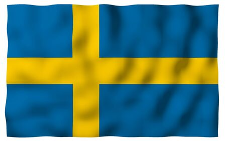 The flag of Sweden. Official state symbol of the Kingdom of Sweden. A blue field with a yellow Scandinavian cross that extends to the edges of the flag. 3d illustration