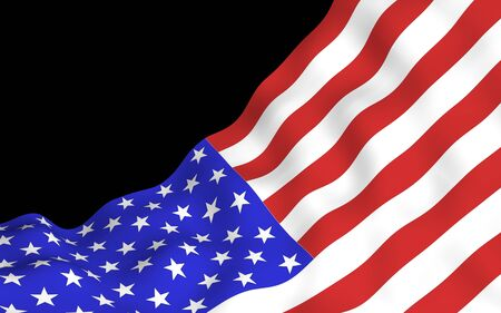 Waving flag of the United States of America on a dark background. Stars and Stripes. State symbol of the USA. 3D illustration