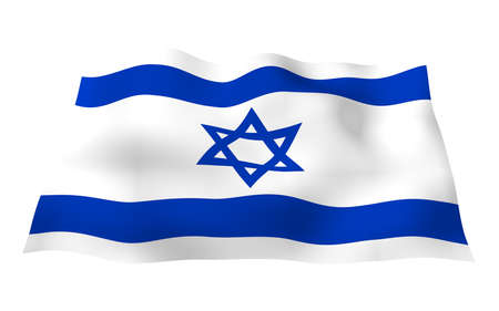 The flag of Israel. State symbol of the State of Israel. A blue Star of David between two horizontal blue stripes on a white field. 3d illustration Imagens