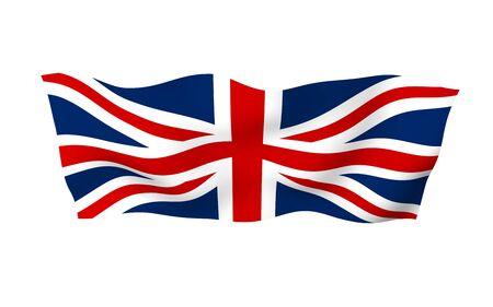 Agitant le drapeau de la Grande-Bretagne. Drapeau britannique. Royaume-Uni de Grande-Bretagne et d'Irlande du Nord. Symbole d'État du Royaume-Uni. illustration 3D