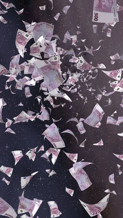 Flying euro banknotes on a outer space starry background. Money flying in the outer space. 500 EURO in color. Vertical orientation. 3D illustration Фото со стока