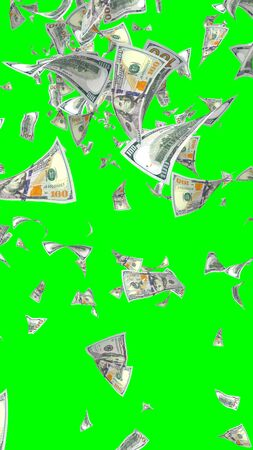 Flying dollars banknotes isolated on chromakey. Money is flying in the air. 100 US banknotes new sample. Vertical orientation. 3D illustration