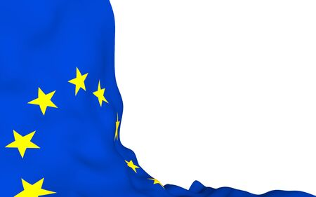 Slightly waving flag of the European Union isolated on white background, 3D rendering. Symbol of Europe. 3D illustration 免版税图像