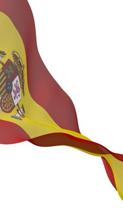The flag of Spain. Official state symbol of the Kingdom of Spain. Concept: web, sports pages, language courses, travelling, design elements. 3d illustration 免版税图像