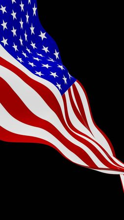 Waving flag of the United States of America on a dark background. Stars and Stripes. State symbol of the USA. 3D illustration 免版税图像
