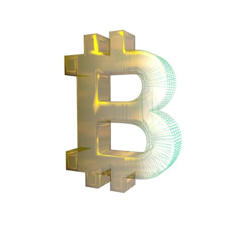 Bitcoin sign, the green grid turns into gold on white background. 3D illustration 写真素材