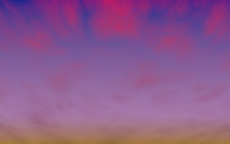 Cumulus pink clouds in the purple sky at sunset. Abstract group of clouds in the evening. 3D illustration Foto de archivo