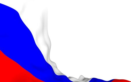 Waving flag of the Russian Federation. The National. State symbol of the Russia. 3D illustration 免版税图像