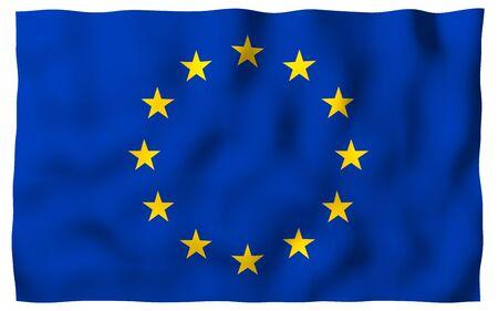 Slightly waving flag of the European Union isolated on white background, 3D rendering. Symbol of Europe. 3D illustration 版權商用圖片