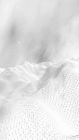 White abstract background. Hi tech network.Outer space. Starry outer space texture. 3D illustration
