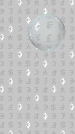 Ethereum classic and currency on a gray background. Digital crypto symbol. Currency bubble, wave effect, market fluctuations. Business concept. 3D illustration