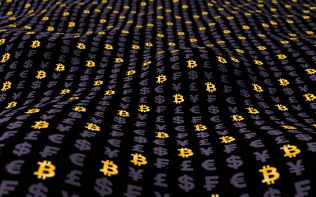 Bitcoin and currency on a dark background. Digital crypto symbol. Wave effect, market fluctuations. Business concept. 3D illustration