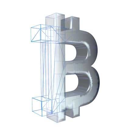 Bitcoin sign, platinum or silver turns into a blue grid on a white background. 3D illustration 写真素材