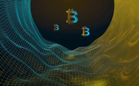 Digital currency, golden symbol Bitcoin on abstract dark background. Growth of the crypto currency market. Business, finance and technology concept. 3D illustration 写真素材