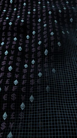 Ethereum crystal and currency on a dark background. Digital crypto currency symbol. Business concept. Market Display. 3D illustration Imagens