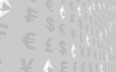 Ethereum classic and currency on a white background. Digital crypto currency symbol. Business concept. Market Display. 3D illustration