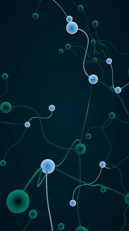 Neural network. Social network. Futuristic dna, deoxyribonucleic acid. Abstract molecule, cell illustration, mycelium. Dark background. 3D illustration