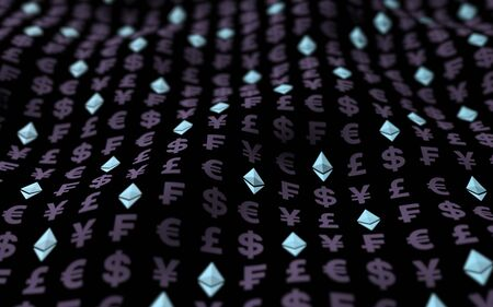 Ethereum crystal and currency on a dark background. Digital crypto currency symbol. Business concept. Market Display. 3D illustration Imagens - 147489916
