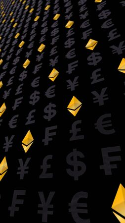 Ethereum classic and currency on a dark background. Digital crypto currency symbol. Business concept. Market Display. 3D illustration