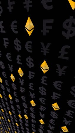 Ethereum classic and currency on a dark background. Digital crypto currency symbol. Business concept. Market Display. 3D illustration Imagens - 147518387