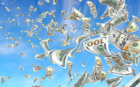 Flying dollars banknotes against the sky background. Money is flying in the air. 100 US banknotes new sample. 3D illustration