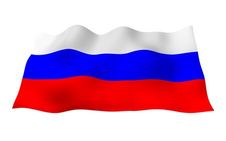 Waving flag of the Russian Federation. The National. State symbol of the Russia. 3D illustration Фото со стока