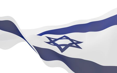 The flag of Israel. State symbol of the State of Israel. A blue Star of David between two horizontal blue stripes on a white field. 3d illustration Фото со стока