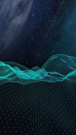 Abstract landscape on a dark background. Cyberspace grid. hi tech network. Outer space. Vertical orientation. Starry outer space texture. 3D illustration Stock fotó