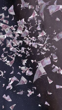 Flying euro banknotes on a outer space starry background. Money flying in the outer space. 500 EURO in color. Vertical orientation. 3D illustration Stock fotó