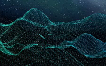 Abstract landscape on a dark background. Cyberspace grid. hi tech network. Outer space. Starry outer space texture. 3D illustration Stock fotó