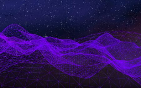 Abstract ultraviolet landscape on a dark background. Purple cyberspace grid. hi tech network. Outer space. Violet starry outer space texture. 3D illustration