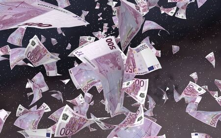 Flying euro banknotes on a outer space starry background. Money flying in the outer space. 500 EURO in color. 3D illustration